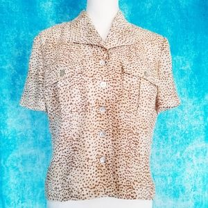 Vintage Tops - VTG 90s Cynthia Howe Animal Print Button Up Blouse